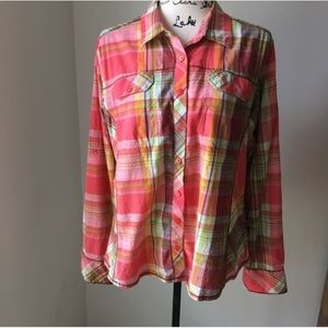 Columbia plaid button down shirt XL